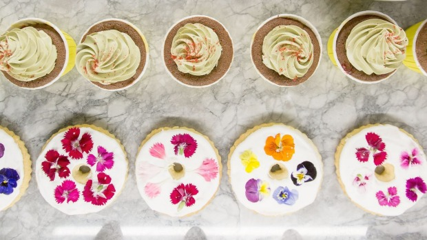 The cake display at the Rabbit Hole Organic Tea Bar includes the Instagram-friendly lavender shortbread.