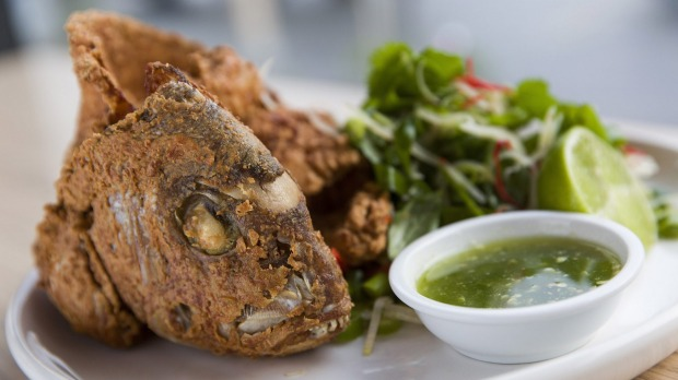 Furious fish: salt and pepper snapper with its own crisped spine