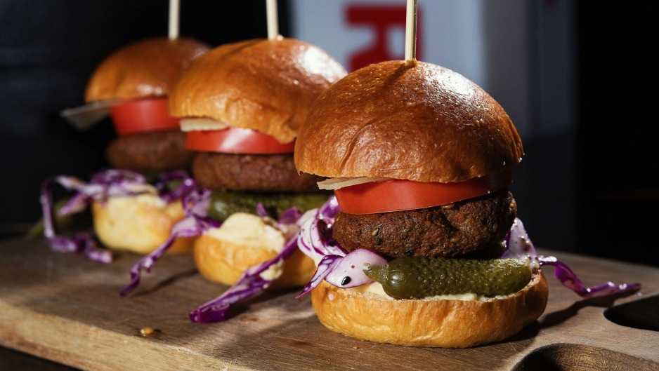 Three's the charm: the vege burger sliders at Tonic Lane.