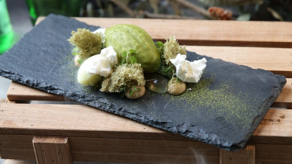 The snozzcumber dessert is made of pistachio mousse and sponge, apple blossom jelly and matcha coating.