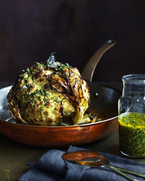 Whole roasted cauliflower with lemon and mustard. <a ...