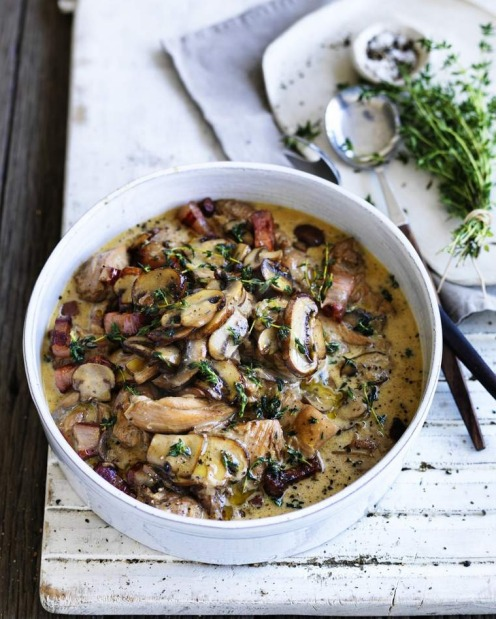 Chicken braised with mushrooms and thyme. <a ...