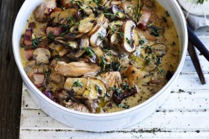 Chicken braised with mushrooms and thyme.