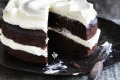 Double decadent: Double chocolate olive oil cake with mascarpone buttercream.