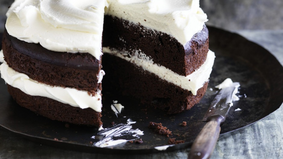 This double chocolate cake is made using olive oil.
