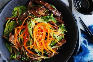 Bibimbap with beef and onions; great served with a fried egg on top