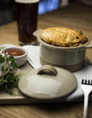 Made for cold weather: the lamb shank and farro pie.