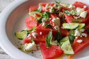 A summer combo ... Watermelon, feta and mint.