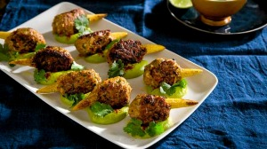 Chicken kofta on baby corn with whipped avocado