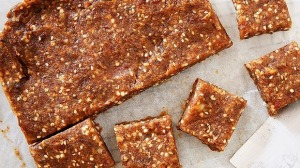 Snack right Banana, walnut and sesame bars.