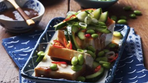 Silken tofu with soybeans and chili