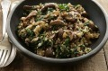 Simple autumn dinner Farro with mushrooms and silverbeet.
