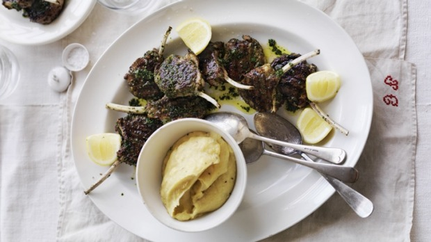 Spicy marjoram-and-thyme-marinated lamb cutlets with parsnip puree