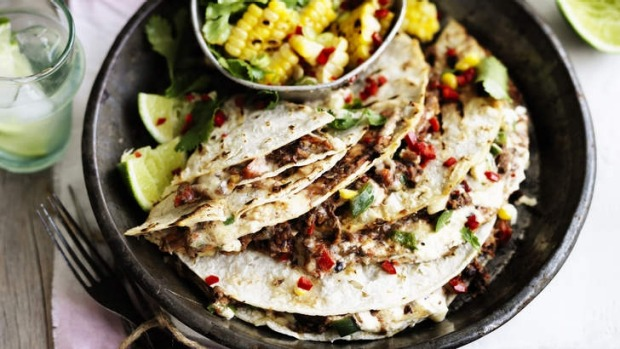 Neil Perry's bean quesadillas with corn salsa