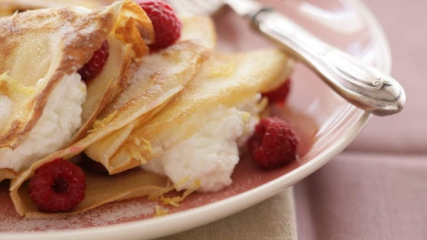 crepes with fromage blanc raspberries and framboise recipe food