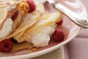 Crepes with fromage blanc, raspberries and a splash of Framboise.