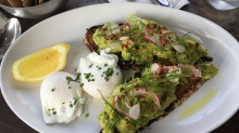 Breakfast, Aussie-style: Smashed avo on toast at Five Leaves cafe.