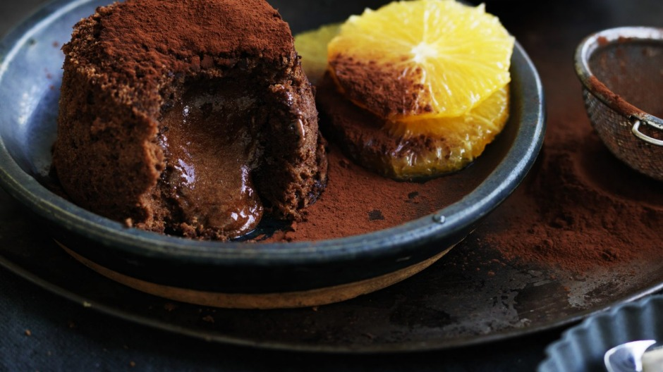 Chocolate fondant cake with Grand Marnier poached oranges.