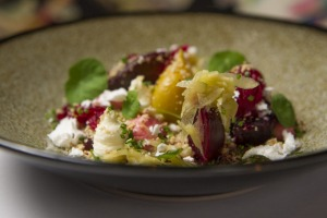 Beetroot, bearnaise, goat's curd mousse and hazelnut dukkah at Sage.