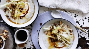 Slow-cooked oat porridge with apple, almond and maple syrup.