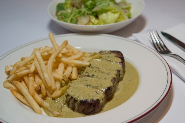 Steak frites with bottomless fries at Entrecote.