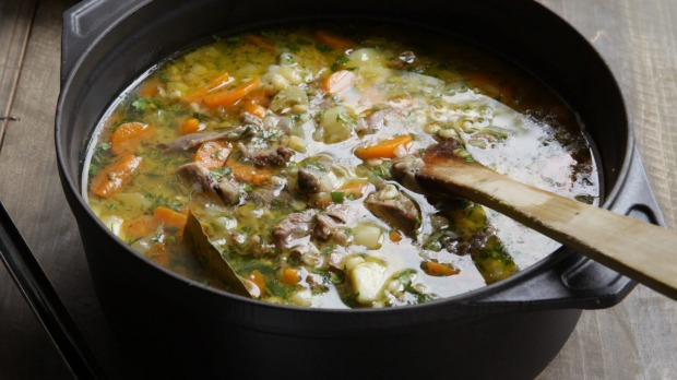 Barley soup with lots of vegies is a great source of fibre.