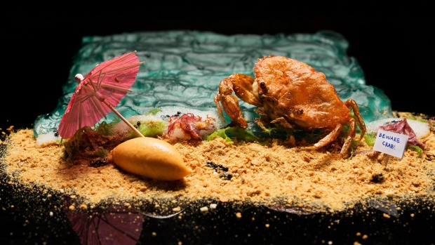 Chef Han Liguang's spin on Singapore chilli crab for pop-up restaurant Six Hands Dinner.