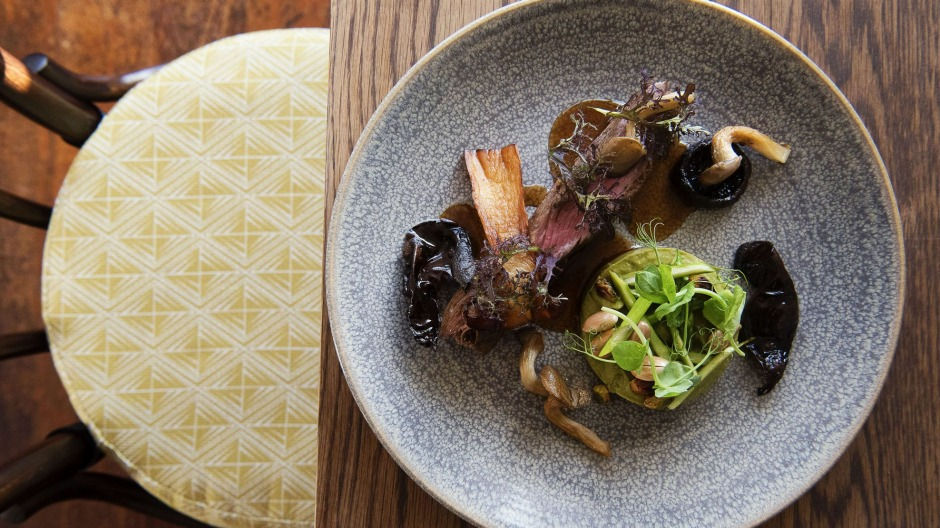 Making the cut: Ranger's Valley bavette with pickled mushrooms at Brigade Dining.
