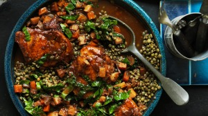 Neil Perry's braised chicken with lentils and vegetables.