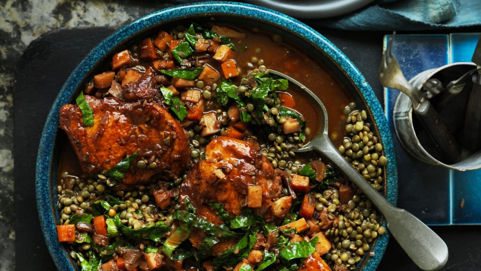 Lentil-packed dishes such as Neil Perry's braised chicken with lentils and veg are rich in antioxidants.