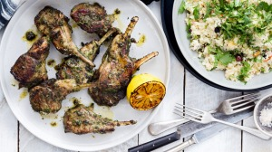 Parsley and coriander lamb chops with quick Moroccan couscous.