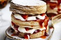 Simple dessert: Strawberries and cream millefeuille.