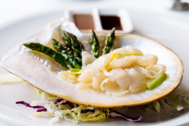Luxury: Pearl meat sauteed with spring onion, garlic chives and asparagus at Flower Drum.