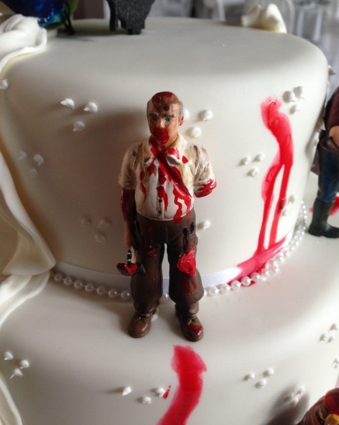 Up-close detail of the bloody zombie rampage from Sweet Connoisseur's cake.