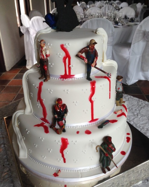 One of the more unconventional requests for Sweet Connoisseur was a wedding cake that depicted the zombie apocalypse.