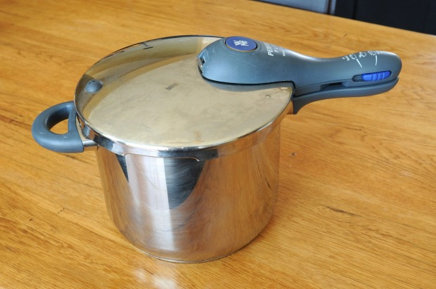 The pressure cooker is part of Shaw's toolkit for making braises and stocks.