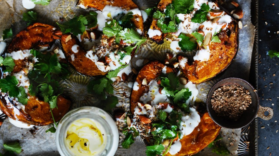 Spice roast pumpkin with garlic yoghurt and almonds