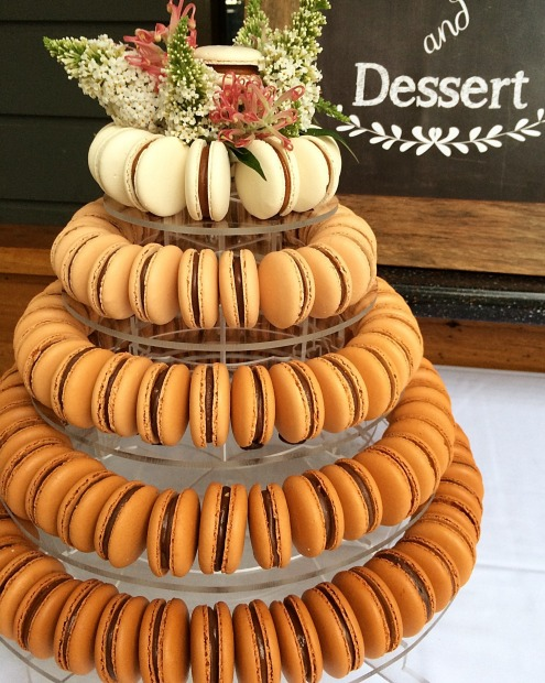 "For a spectacular alternative that's gluten-free, try a tower of macarons. ""Often we work with the bride or wedding ..."