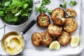 Fish cakes with dill and parsnip puree.
