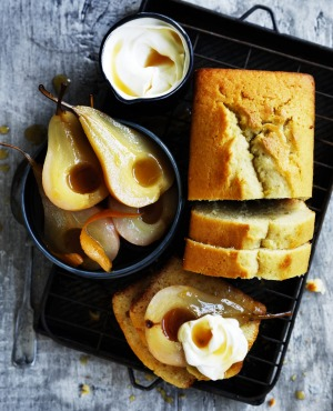 Olive oil and Sauternes cake with maple roasted pears.