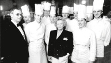 Fanny's owner Gloria Staley with her chefs and head waiter Claude Verryser.