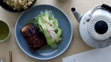 Cho Cho San's miso ocean trout with celery salad and brown rice.