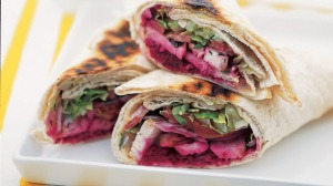 Recipe image for goodfood.com.au. Lebanese chargrilled chicken wrap (Murdoch Books).