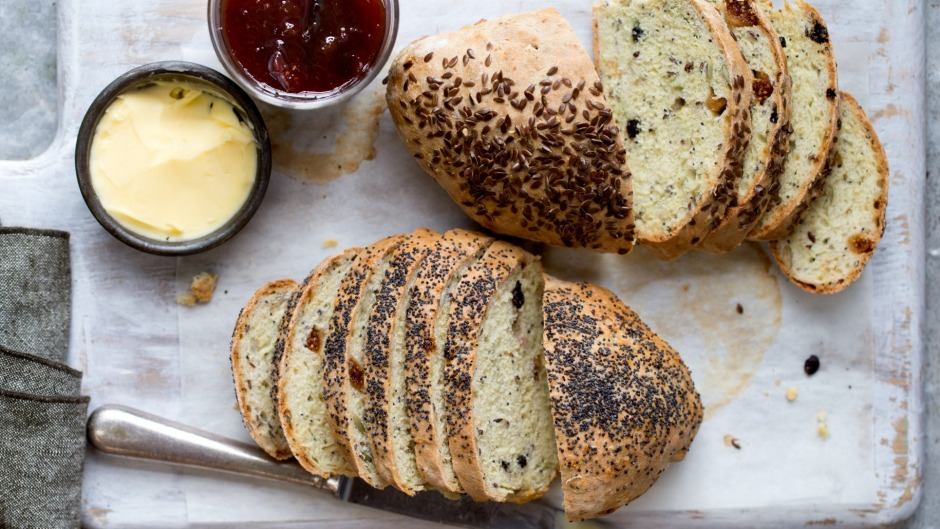 Soda bread studded with figs, currants and seeds.