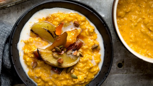 Pumpkin-spiced porridge (or try bircher muesli, smoothies etc).