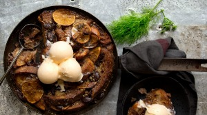 Burnt orange and chocolate bread and butter pudding (with fennel ice-cream).