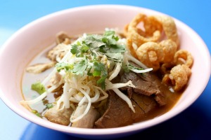 The beef boat noodles with egg noodles served at  Soi 38.