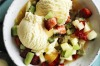 Ice-cream with fruit salad dressing. <a ...