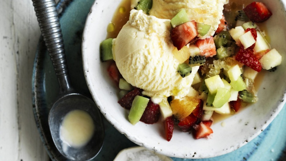 Ice-cream with fruit salad dressing.