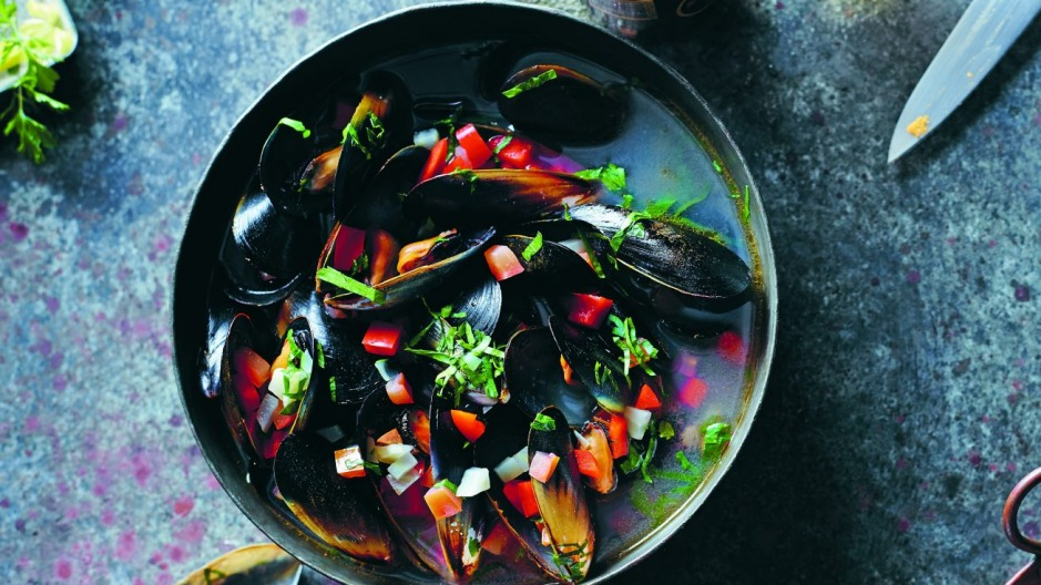 Chef Matt Stone's steamed mussels in fish broth.